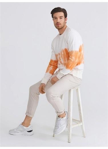 Xint XINT Bisiklet Yaka %100 Pamuk Batik Desenli Slim Fit Sweatshirt Sarı
